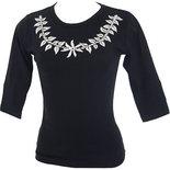 フラスタイル ストレッチ七分袖Tシャツ ティアレレイ ブラック