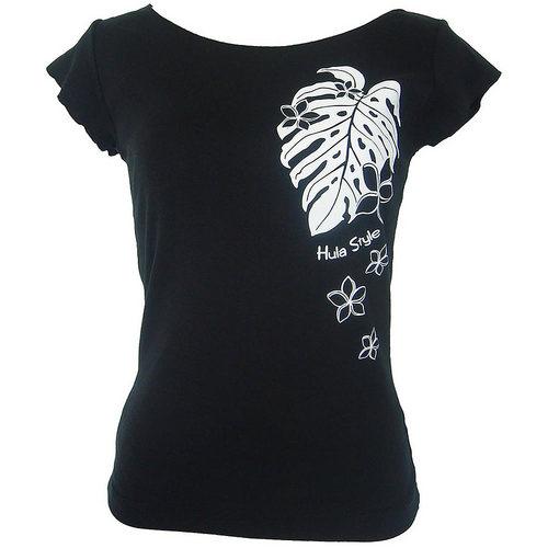 フラスタイル カットオフストレッチTシャツ モンステラ&プルメリア ブラック