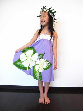 子供用ハワイアンワンピース 2way パープル