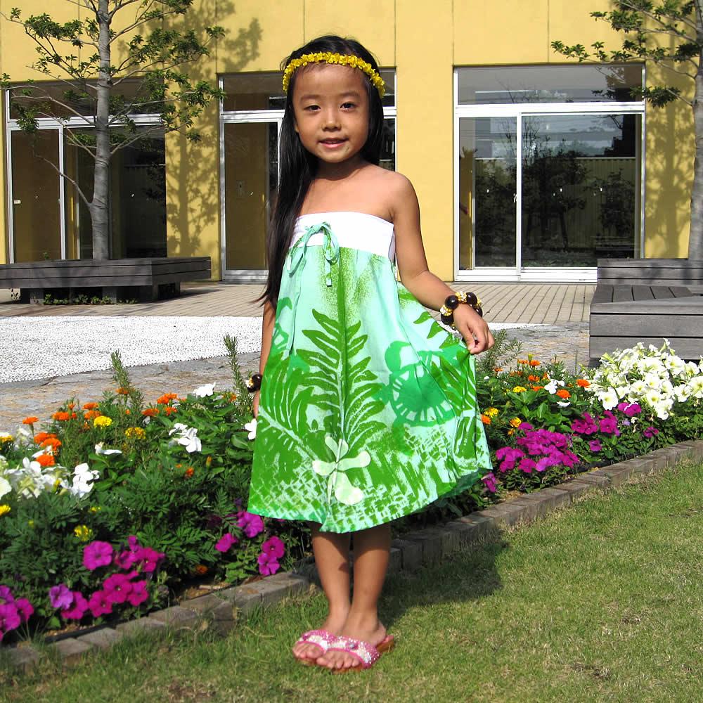子供用ハワイアンワンピース 2way エメラルドグリーン