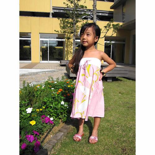 子供用ハワイアンワンピース 2way ライトピンク