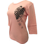 フラスタイル 七分袖 ストレッチTシャツ モンステラ&プルメリア ピンク