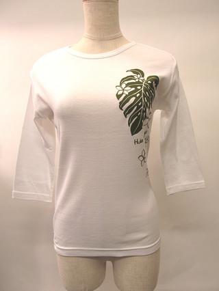 フラスタイル 七分袖 ストレッチTシャツ モンステラ&プルメリア ホワイト
