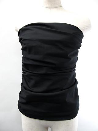 フラダンス衣装トップス シャーリングブラウスチューブトップ ブラック