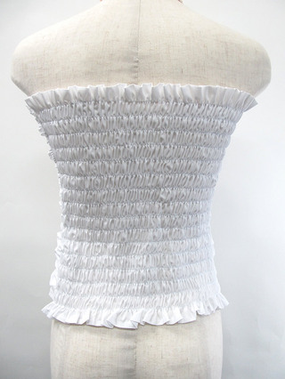 フラダンス衣装トップス シャーリングブラウスチューブトップ ホワイト