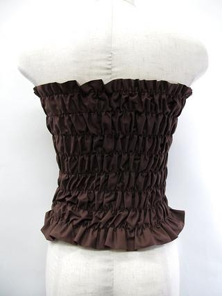 フラダンス衣装トップス シャーリングチューブトップ ブラウン