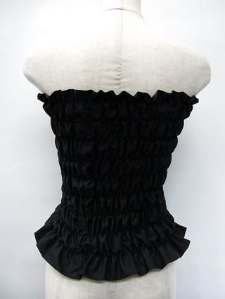 フラダンス衣装トップス シャーリングチューブトップ ロングタイプ ブラック