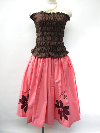フラダンス衣装トップス シャーリングチューブトップ ロングタイプ ブラウン
