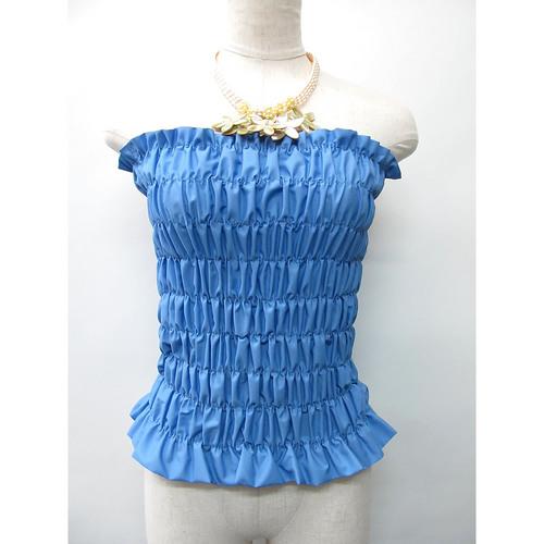 フラダンス衣装トップス シャーリングチューブトップ ロングタイプ スカイブルー