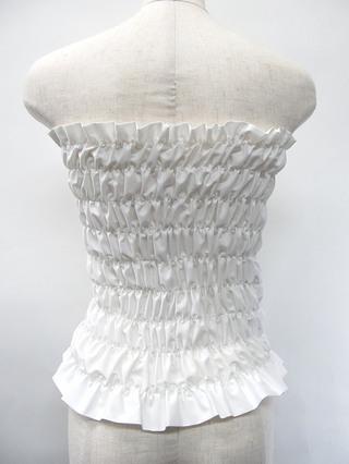 フラダンス衣装トップス シャーリングチューブトップ ロングタイプ ホワイト