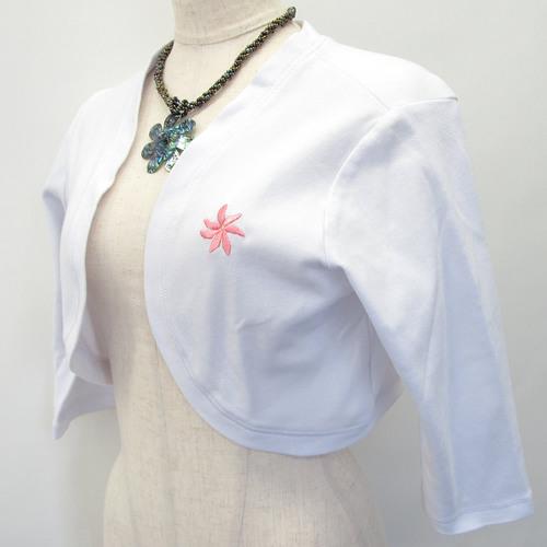 ハワイアン 刺繍付きボレロ ティアレ ホワイト
