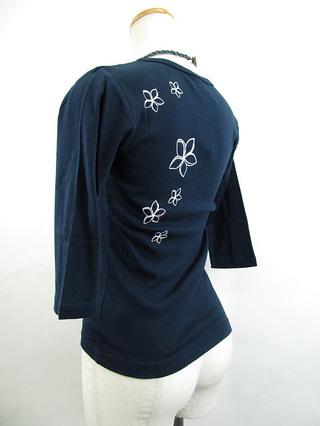 フラスタイル 七分袖 ストレッチTシャツ モンステラ&プルメリア ネイビー
