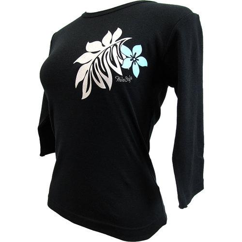 フラスタイル 七分袖 ストレッチTシャツ モダンモンステラ ブラック