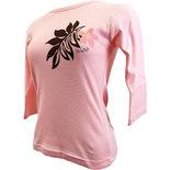 フラスタイル 七分袖 ストレッチTシャツ モダンモンステラ ピンク
