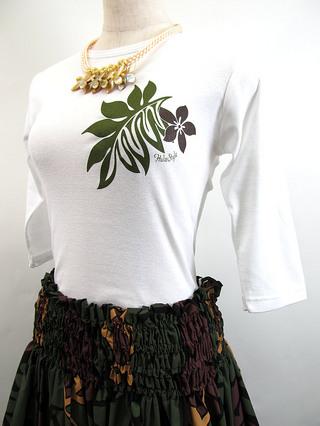 フラスタイル 七分袖 ストレッチTシャツ モダンモンステラ ホワイト