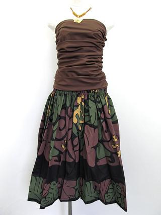 フラダンス衣装トップス シャーリングブラウスチューブトップ ブラウン