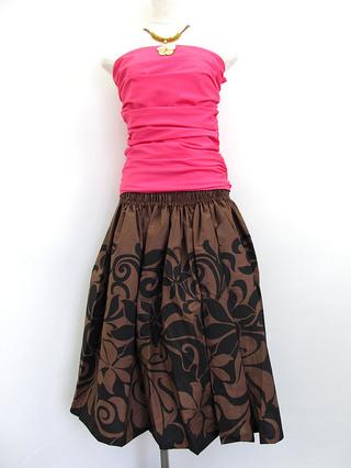 フラダンス衣装トップス シャーリングブラウスチューブトップ ピンク