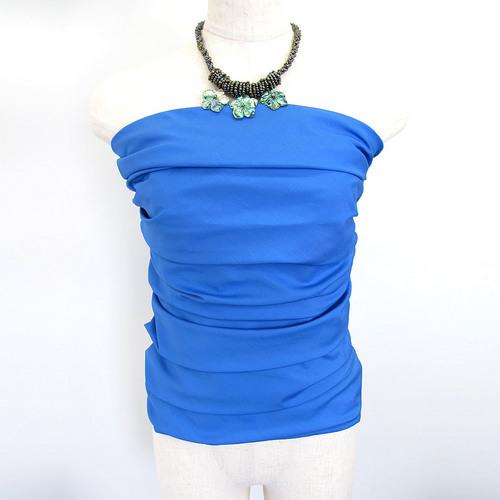 フラダンス衣装トップス シャーリングブラウスチューブトップ ブルー