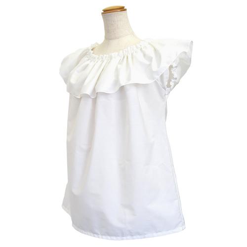 フラダンス衣装トップス フリルショートスリーブ ブラウス ホワイト