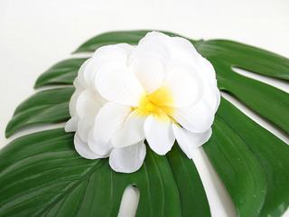 フラ衣装ヘアアクセサリー ハワイアンソフトヘアクリップ プルメリア