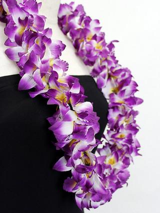 フラ衣装用ハワイアンレイ ニューオーキッド パープル