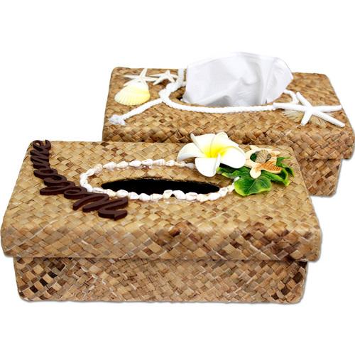 ハワイアン雑貨 ラウハラティッシュボックス ブラウン