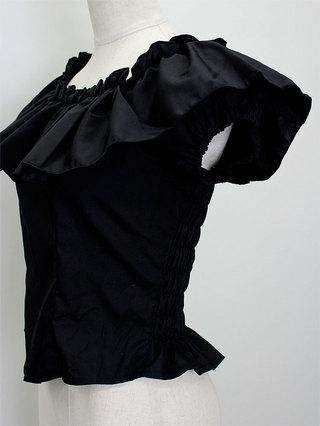 バックシャーリングフリルブラウス ブラック