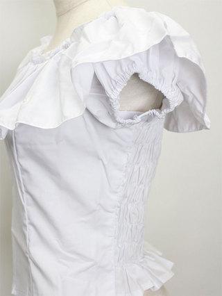 バックシャーリングフリルブラウス ホワイト
