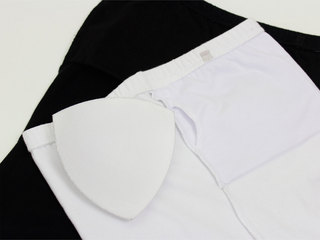 フラタヒチアン ブラカップ付きチューブトップ 白/黒