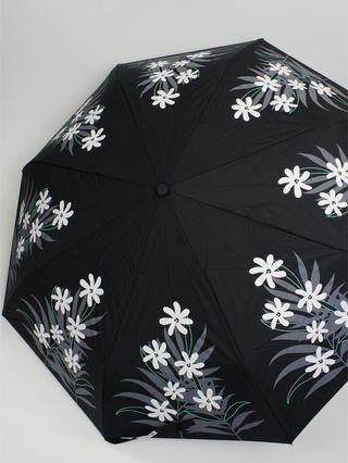 フラレフア(Hula Lehua)UVカット折りたたみ傘(日傘兼用)ブラックティアレ