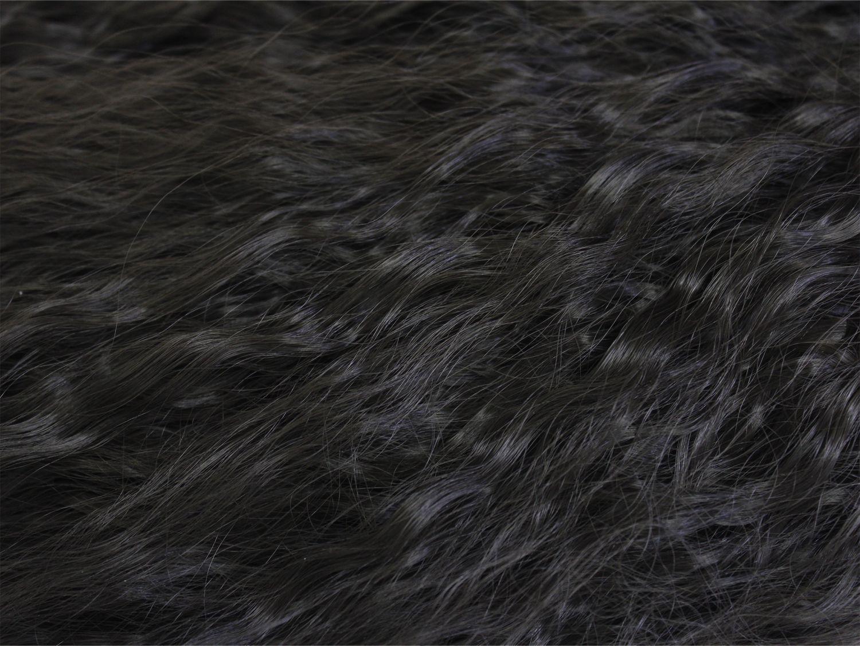 ハーフウィッグ フラ・タヒチアン用 ロングソバージュ ナチュラルブラック