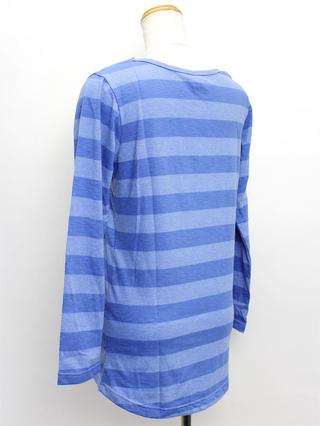ハワイアン ワンポイント刺繍ロングTシャツ ボーダーブルー