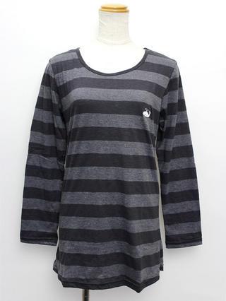 ハワイアン ワンポイント刺繍ロングTシャツ ボーダーブラック