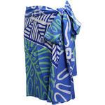 PUKANA ハワイアン手染め2wayショートスカート タパモンステラ ブルー