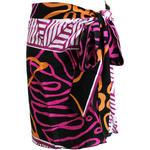 PUKANA ハワイアン手染め2wayショートスカート タパモンステラ ブラックパープル