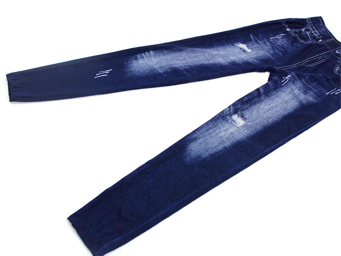 Airly BLUE デニムレギンス ダメージプリントブルー