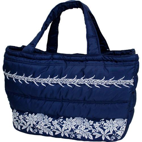 フララニ(Hula Lani)トートバッグ(Lサイズ)ブレッドフルーツ シンプルボーダー ネイビー