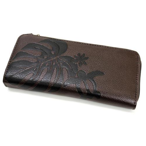 Aloha Wave(アロハウェーブ)型押し長財布 ファスナータイプ ブラウン