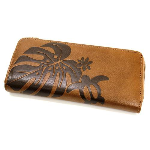 Aloha Wave(アロハウェーブ)型押し長財布 ファスナータイプ モカ