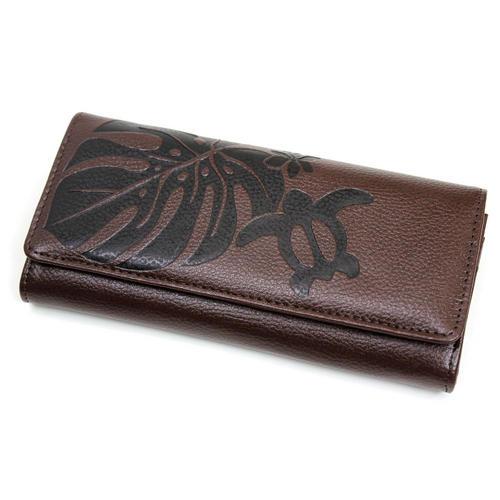 Aloha Wave(アロハウェーブ)型押し長財布 カブセタイプ ブラウン