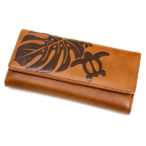 Aloha Wave(アロハウェーブ)型押し長財布 カブセタイプ モカ