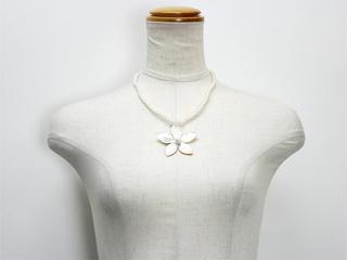 ピュアビーズネックレス プルメリア ホワイト