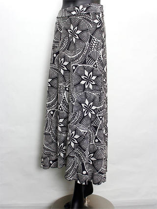 巻きスカート風ドレスワンピース タパ柄ホワイトブラック