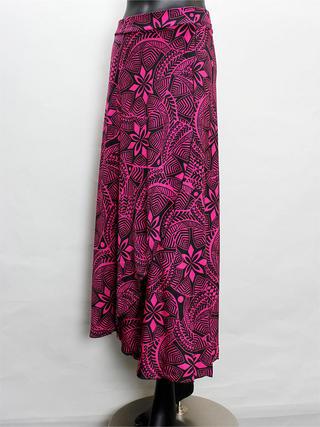 巻きスカート風ドレスワンピース タパ柄ピンク