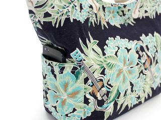 アロハメイド(Aloha MADE)キャンバス トートバッグ ウクレレハイビスカス ネイビー