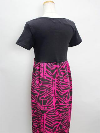 Tドレスウッドボタンワンピース ブラックピンク