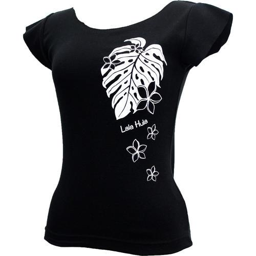 ララフラ カットオフストレッチTシャツ モンステラ&プルメリア ブラック
