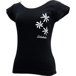 ララフラ カットオフストレッチTシャツ ティアレ ブラック
