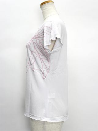 PUKANA ノースリーブストレッチTシャツ スタイリッシュピンクホワイト