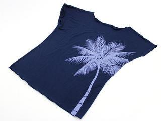PUKANA ノースリーブストレッチTシャツ パームツリーネイビー